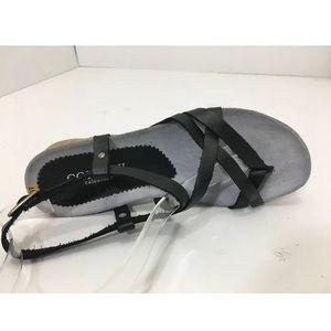Cordani Black Leather Platform Comfort Sandal